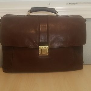 "Tumi brown leather briefcase laptop bag 15"" laptop"